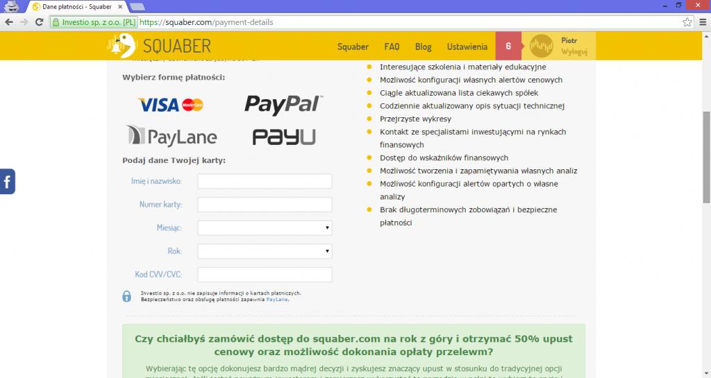 Ekran płatności w squaber.com