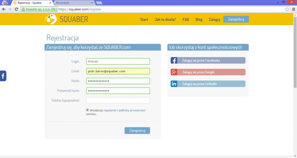 Widok rejestracji w squaber.com